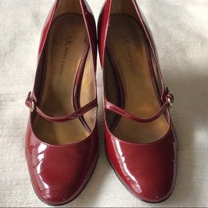 Anne Klein, 8.5, red, patent leather